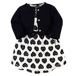 Touched by Nature 2-Piece Heart Organic Cotton Dress and Cardigan Set in Black