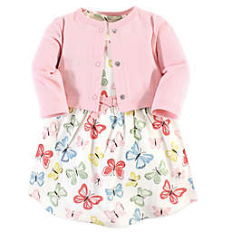 Touched by Nature® 2-Piece Butterflies Organic Cotton Dress and Cardigan Set in Pink
