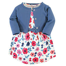 Touched by Nature 2-Piece Garden Floral Organic Dress and Cardigan Set in Pink