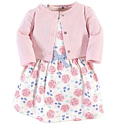 Touched by Nature 2-Piece Organic Cotton Pink Rose Dress and Cardigan Set