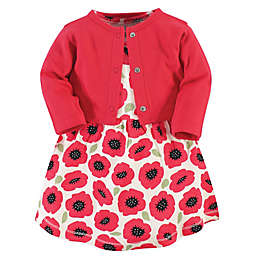 Touched by Nature Size 12-18M 2-Piece Organic Cotton Poppy Dress and Cardigan Set