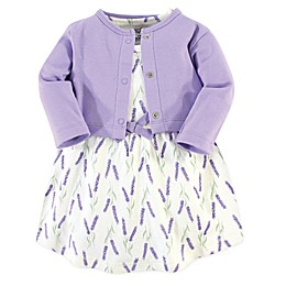 Touched by Nature 2-Piece Lavender Organic Cotton Dress and Cardigan Set in Purple