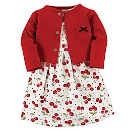 Hudson Baby® 2-Piece Cherry Dress and Cardigan Set in Red