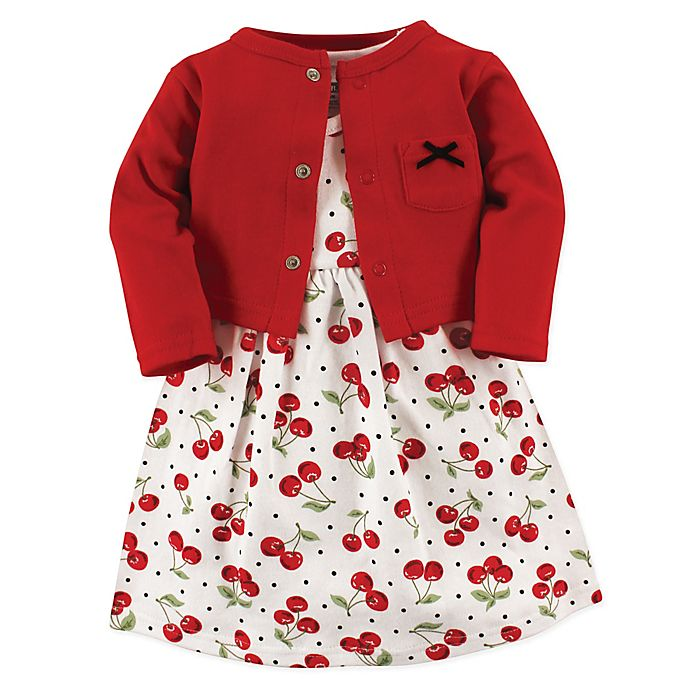Alternate image 1 for Hudson Baby® 2-Piece Cherry Dress and Cardigan Set in Red