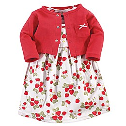 Hudson Baby® 2-Piece Strawberries Dress and Cardigan Set in Red