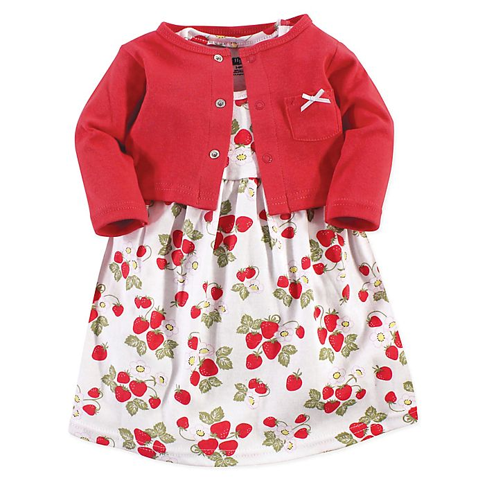 Alternate image 1 for Hudson Baby® 2-Piece Strawberries Dress and Cardigan Set in Red