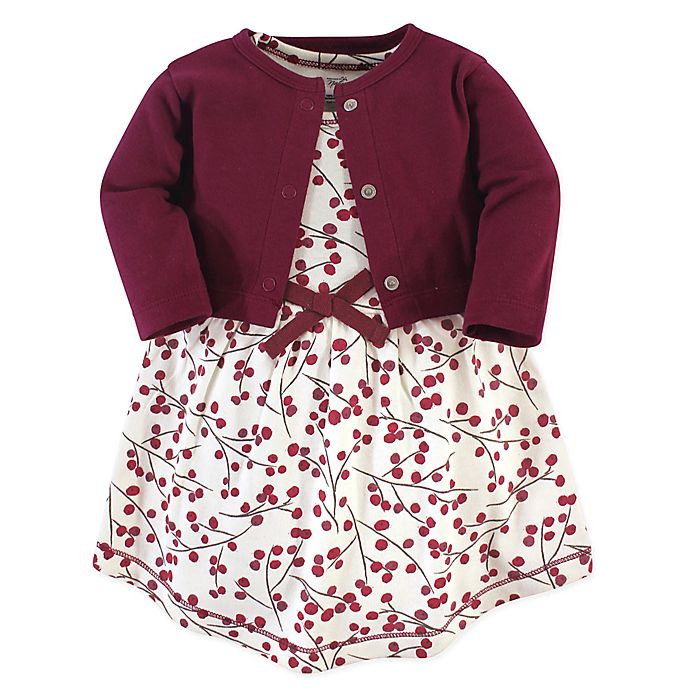Alternate image 1 for Touched by Nature 2-Piece Berry Branch Organic Cotton Dress and Cardigan Set