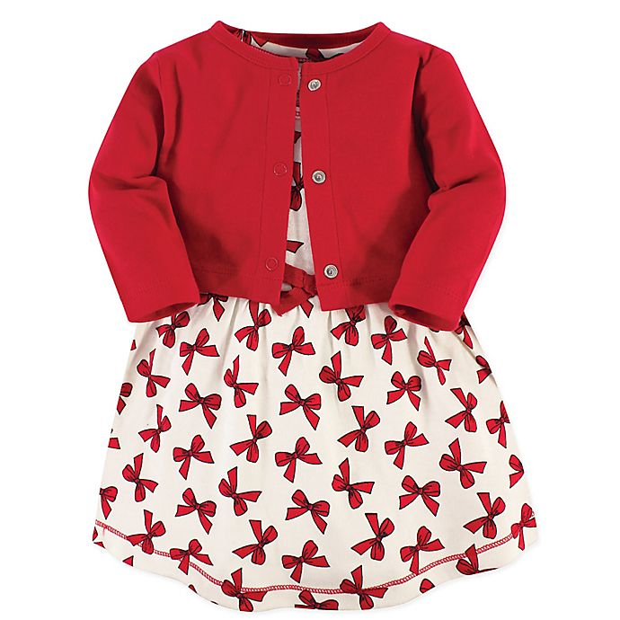 Alternate image 1 for Touched by Nature 2-Piece Bow Organic Cotton Dress and Cardigan Set in Red