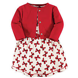 Touched by Nature 2-Piece Bow Organic Cotton Dress and Cardigan Set in Red