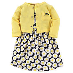 Hudson Baby® 2-Piece Daisy Dress and Cardigan Set in Yellow