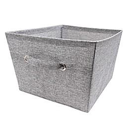 Large Textured Canvas Storage Bin in Grey