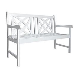 Vifah Bradley Patio Bench in White