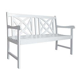 Vifah Bradley Patio Bench in White