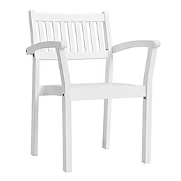 Vifah Bradley Patio Stacking Armchairs in White (Set of 2)
