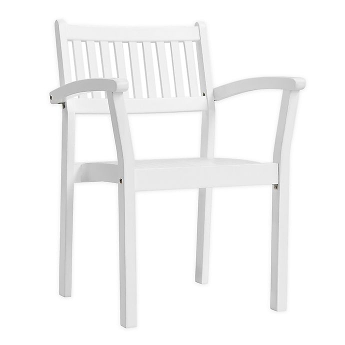 Alternate image 1 for Vifah Bradley Patio Stacking Armchairs in White (Set of 2)
