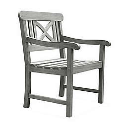 Vifah Renaissance Patio Dining Armchair in Grey