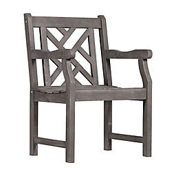 Vifah Renaissance Geometric Patio Armchair in Grey