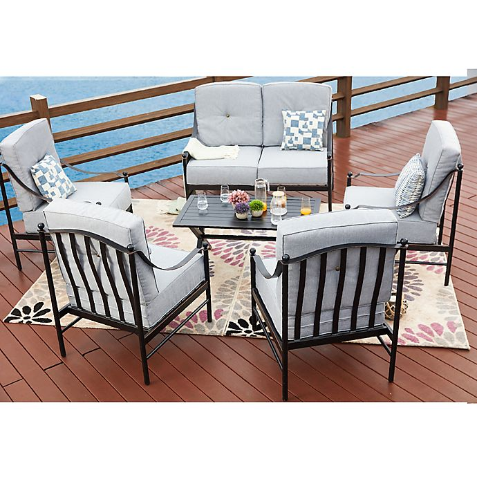 4-Piece Metal Patio Conversation Set with Cushions | Bed Bath & Beyond
