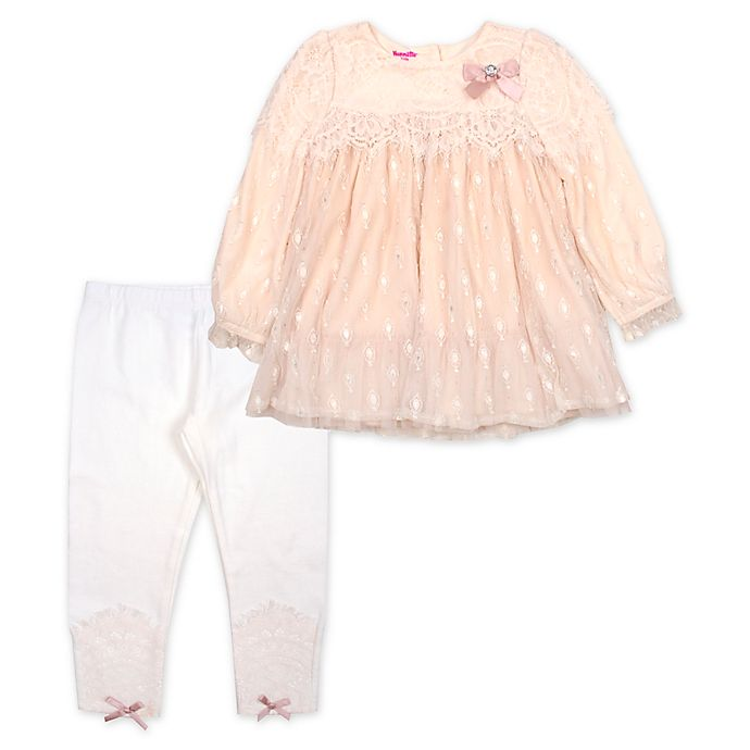 Alternate image 1 for Nannette Baby® 2-Piece Lace Top and Legging Set in Champagne