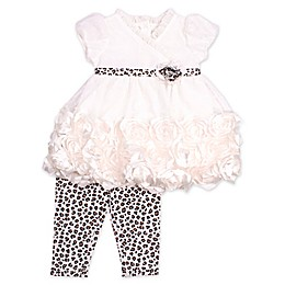 Nannette Baby® 2-Piece Leopard Trim Top and Leggings Set in Ivory