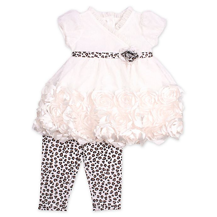 Alternate image 1 for Nannette Baby® 2-Piece Leopard Trim Top and Leggings Set in Ivory