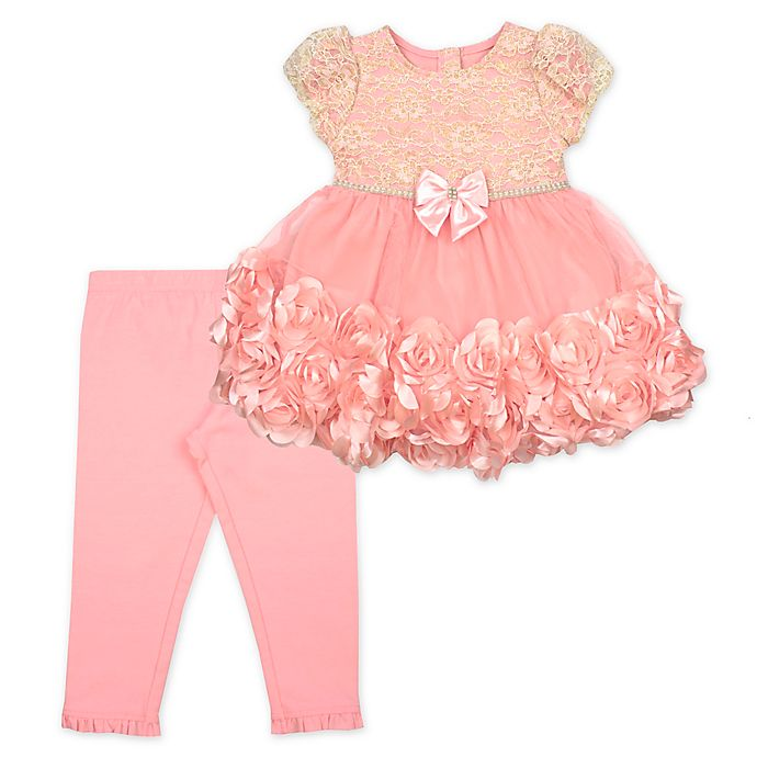 Alternate image 1 for Nanette Baby® 2-Piece Rhinestone Top and Legging Set in Coral