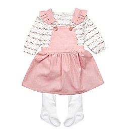 Nanette Baby® 3-Piece Corduroy Jumper, Bodysuit, and Tights Set in Mauve