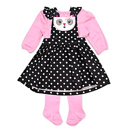 Nanette Baby® 3-Piece Panda Jumper, Bodysuit, and Tights Set in Black