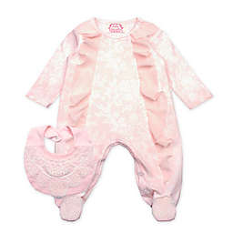 Baby Biscotti 2-Piece Chiffon Ruffle Coverall and Bib Set in Peach