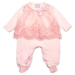 Baby Biscotti Lace Footie in Peach