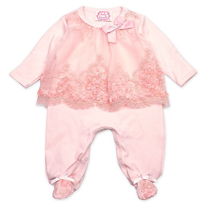 Alternate image 1 for Baby Biscotti Lace Footie in Peach