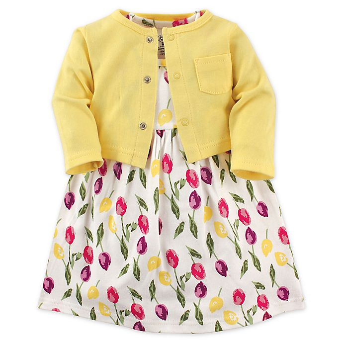 Alternate image 1 for Luvable Friends® 2-Piece Tulips Toddler Dress and Cardigan Set in Yellow