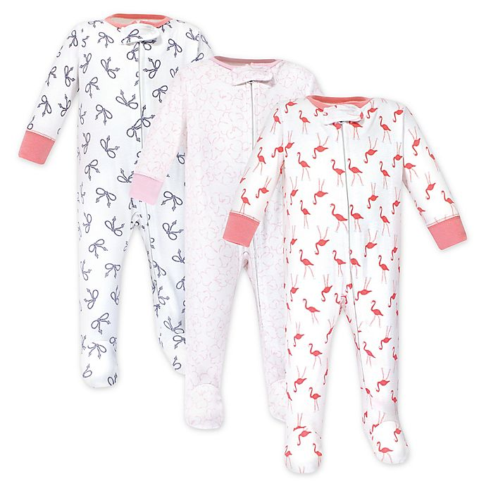 Alternate image 1 for Yoga Sprout 3-Pack Flamingo Sleep N' Play Footed Pajamas