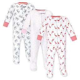 Yoga Sprout 3-Pack Flamingo Sleep N' Play Footed Pajamas