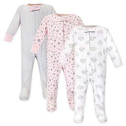 Hudson Baby® Preemie 3-Pack Cloud Long Sleeve Footies in Pink