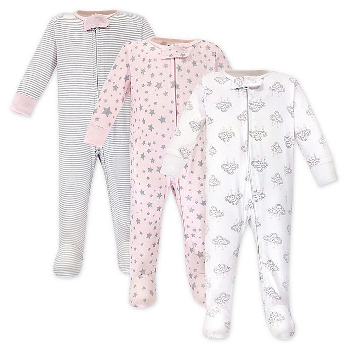Alternate image 1 for Hudson Baby® 3-Pack Cloud Mobile Sleep N' Play Footed Pajamas
