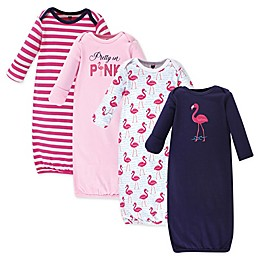 Hudson Baby® Size 0-6M 4-Pack Bright Flamingo Gowns in Pink