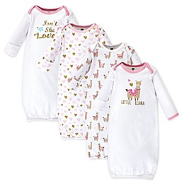 Hudson Baby® Size 0-6M 4-Pack Lil Llama Gowns
