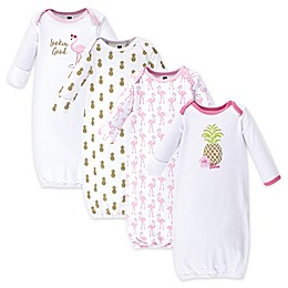 Hudson Baby® Size 0-6M 4-Pack Pineapple Gowns