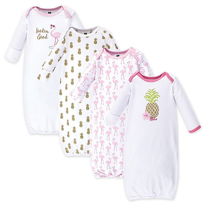 Alternate image 1 for Hudson Baby® Size 0-6M 4-Pack Pineapple Gowns