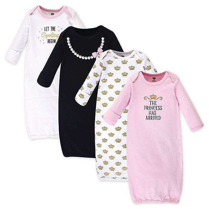 Alternate image 1 for Hudson Baby® Size 0-6M 4-Pack Princess Gowns