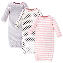Touched by Nature Size 0-6M 3-Pack Scribble Organic Cotton Gowns in Pink/Grey