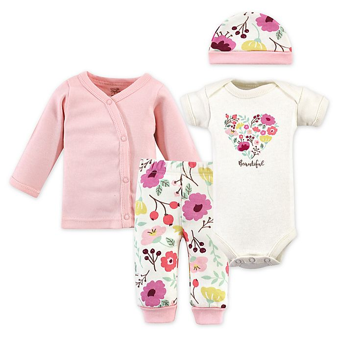 Alternate image 1 for Touched by Nature Preemie 4-Piece Botanical Organic Cotton Layette Set