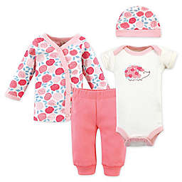Touched by Nature Preemie 4-Piece Rosebud Organic Cotton Bodysuit, Pant, Kimono, and Cap Set