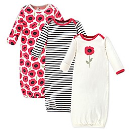 Touched by Nature Size 0-6M 3-Pack Poppy Organic Cotton Gowns in Red