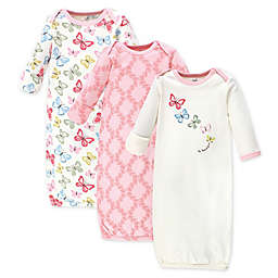 Touched by Nature Size 0-6M 3-Pack Butterflies Organic Cotton Gowns in Pink