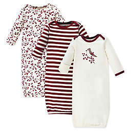 Touched by Nature Size 0-6M 3-Pack Berry Branch Organic Cotton Gowns in Red
