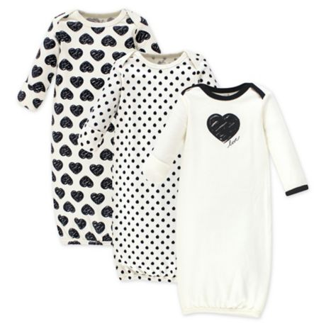 Touched by Nature Size 0-6M 3-Pack Sketch Heart Organic