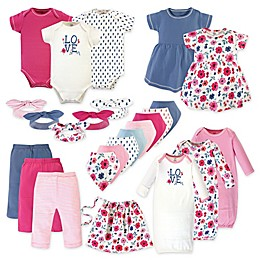 Touched by Nature Size 0-6M 25-Piece Garden Floral Organic Cotton Layette Set in Pink