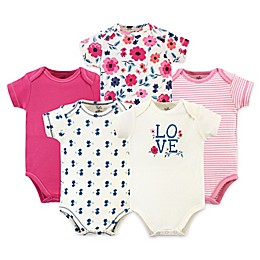 Touched by Nature® 5-Pack Garden Floral Organic Cotton Bodysuits in Pink